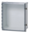 Polycarbonate UL listed NEMA 4, 4X, 6, 6P, 12, 13 IP66/IP67 Hinged cover base with 10-32 brass inserts, latched transparent cover with formed in place PUR gasket, and stainless hinge pin. Quick release latches. (Latch options available.) Enclosure mounting foot kit. Accessory 10-32 screws for panel mounting.